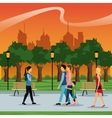 people walking urban city park brench lamp vector image