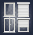 pvc window rolling shutters opened and vector image vector image