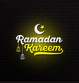 ramadan kareem with yellow white lettering and vector image