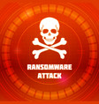 ransomware virus emblem of malware attack skull vector image