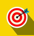 red target icon with arrow on yellow background vector image vector image
