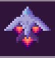 retro spaceship pixel art game rocket at night vector image vector image