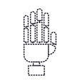 robot hand icon in dotted silhouette vector image