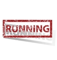 RUNNING outlined stamp vector image