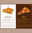 sandwich and pizza fast food colorful banners vector image