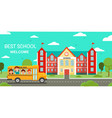 schoolbus and school building vector image