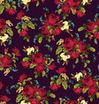 Seamless floral pattern with red roses on dark vector image vector image