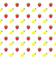 seamless pattern with lemons and strawberries on vector image