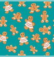 seamless patterns with gingerbread cookies vector image vector image