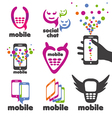 set of logos mobile and smartphones vector image