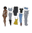 the afroamerican dressing paper doll vector image vector image