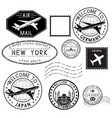 travel stamps and postmarks collection vector image vector image