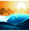 Tropical surfing wave at sunrise with palm trees vector image vector image