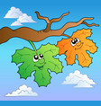 two cartoon autumn leaves on sky vector image