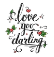 valentines day greetings card with lettering vector image vector image