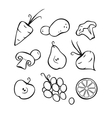 Vegetables and fruits Part 1 Black outlines vector image vector image