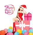 Woman In Santa Costume Sitting On Big Gift Box vector image vector image