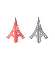 eiffel tower icons in isometric style vector image