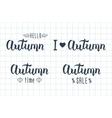 Autumn handwritten set Autumn logos and emblems vector image