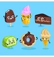 Funny sweet food characters cartoon isolated vector image
