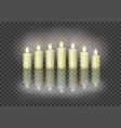 7 burning candles on transparent background vector image