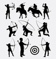 Archery male and female sport silhouette vector image vector image