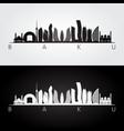 baku skyline and landmarks silhouette vector image vector image