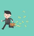 Businessman running with leak money bag