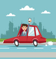 businessman with smartphone car city background vector image vector image