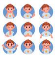 cartoon little boy avatar face emotions