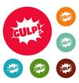 comic boom gulp icons circle set vector image vector image