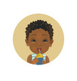 cute afro american child with bottle vector image vector image