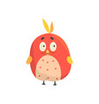 cute little red funny bird chick round shape vector image vector image