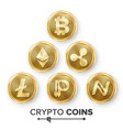 digital currency counter icon set fintech vector image vector image