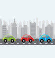 driverless self-driving cars city background vector image vector image
