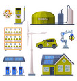 eco friendly technologies collection green energy vector image vector image