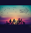 emigration family sky and birds silhouette vector image