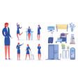 female entrepreneur cartoon character set vector image vector image