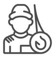 fisherman line icon fishing vector image