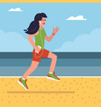 fitness girl running on beach vector image vector image