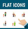 flat icon relatives set of grandpa grandchild vector image vector image