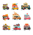 food trucks collection street meal vehicles vector image vector image