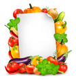 fresh vegetables and food ingredients and white vector image vector image