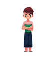 frowning angry little boy standing with arms vector image
