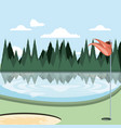 golf curse with sand trap and lake vector image