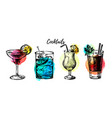 hand drawn vintage cocktails set sketch retro vector image