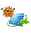 Happy cartoon sun with solar panel vector image