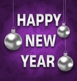 Happy New Year Card with Silver Balls on Purple vector image vector image