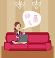 happy woman shopping online vector image vector image