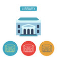 library building flat icons set vector image vector image